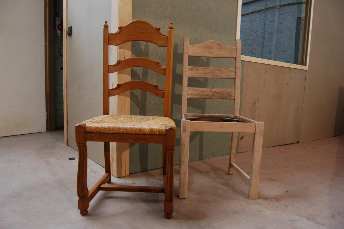 Keuken Zelf Zandstralen : De eiken stoelen (of andere meubelen, alsook deuren, keukens, plafonds